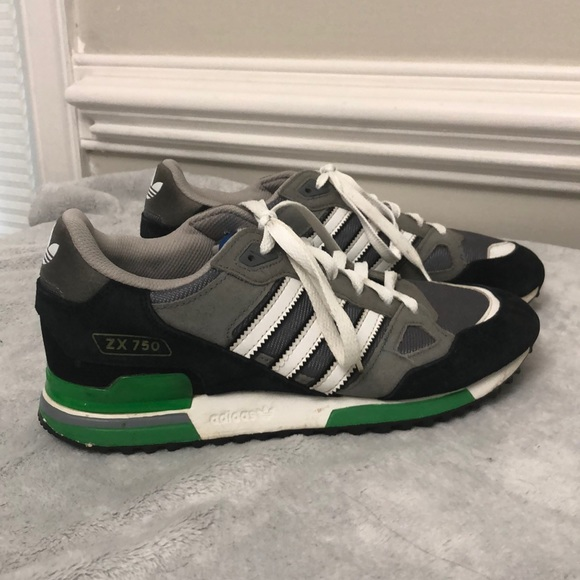 Men's Adidas ZX 750 black and green shoes